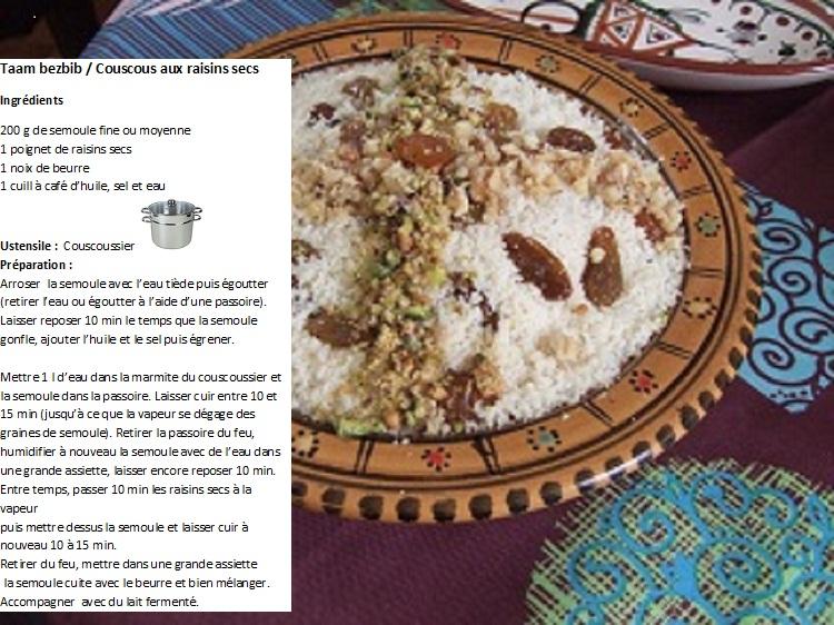 Couscous aux raisins secs/Taam Bezbib